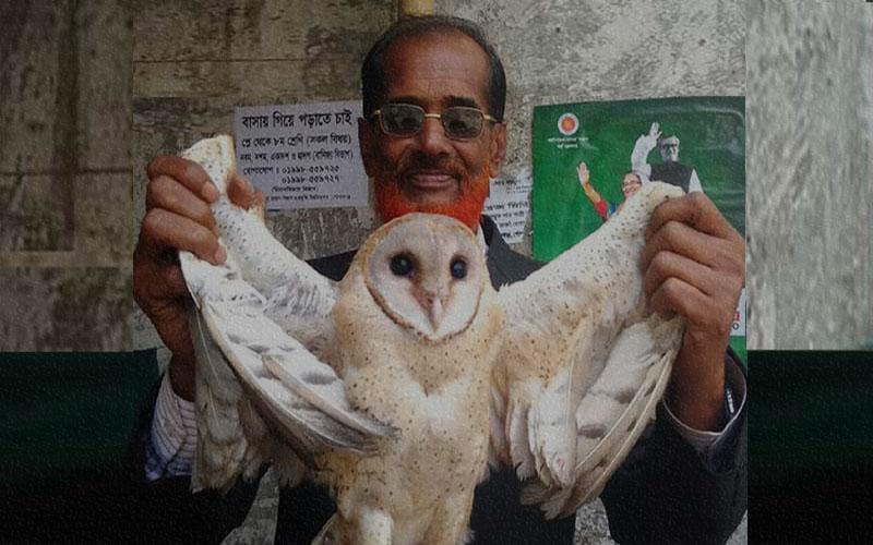 গোপালগঞ্জে কোর্ট চত্বর এলাকায় বিরল প্রজাতির পেঁচা উদ্ধার