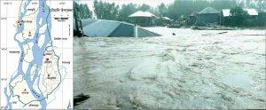 বন্যায় সিরাজগঞ্জ জেলার চৌহালী উপজেলা শহরটি সম্পূর্ণভাবে যমুনা নদীতে বিলীন হয়ে যায়